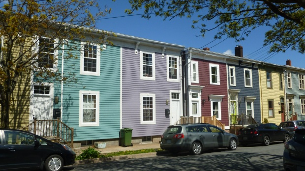 Lots of houses were covered in bright siding!
